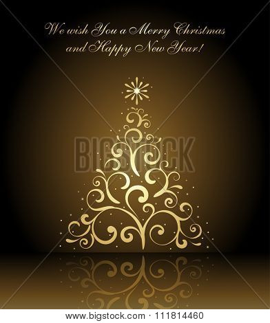 We wish you a Merry Christmas and Happy New Year card with gold christmas tree, vector