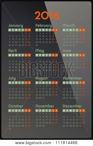 Calendar for 2016, week starts Monday, vector