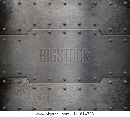old metal armour plate background with rivets