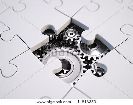 solving the problem concept - puzzles and gears