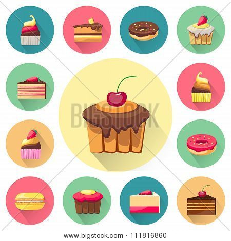 Confectionery set of isolated cakes icons with shadows