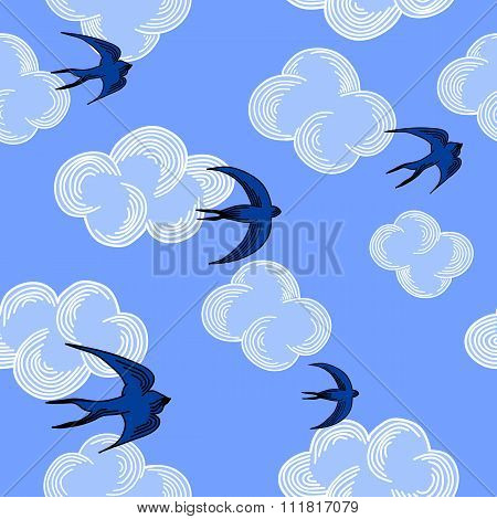 Blue sky seamless pattern with seagulls and clouds. Vector illustration.