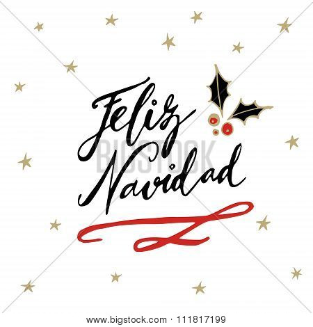 Feliz Navidad, Spanish Merry Christmas Greeting Card With Handwritten Text