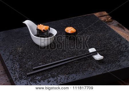 Sushi on wooden table