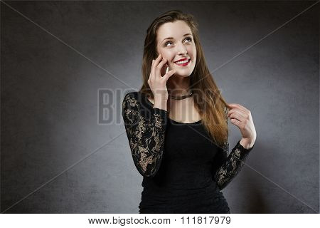 Young woman flirting on the phone