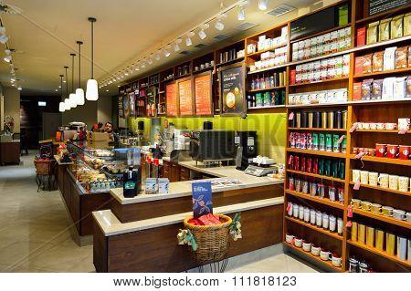 GENEVA, SWITZERLAND - NOVEMBER 18, 2015: Starbucks Cafe interior. Starbucks Corporation is an American global coffee company and coffeehouse chain based in Seattle, Washington