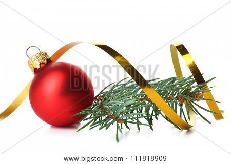 Red Christmas ball with pine isolated on white background