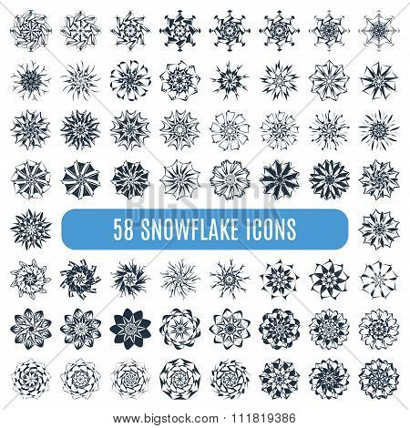 Collection of elegante stylish snowflakes isolated on white background.