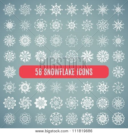 Collection of elegante stylish snowflakes isolated on white background