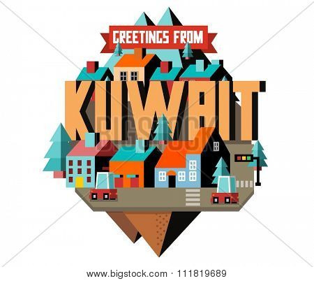Kuwait in middle east is a beautiful country to visit, vintage vector illustration.