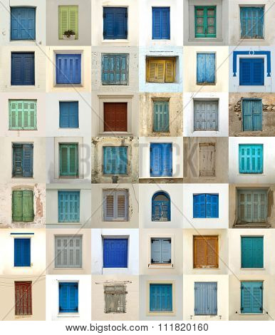 Collage of different colored windows in Greece