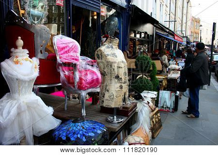 People shopping at Portobello road London