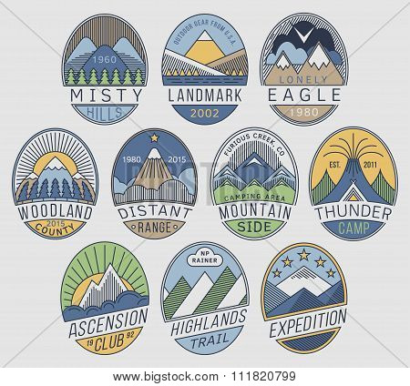 Mountain badges linear 2color