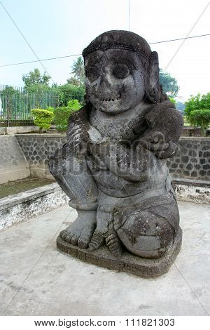 Stone statue in Penataran temple, Java, Indonesia