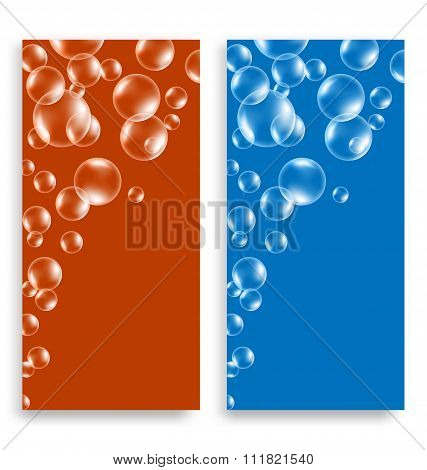 Bright multicolored leaflets with soap bubbles and space for tex