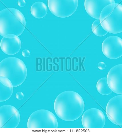Transparent soap bubbles like frame on blue