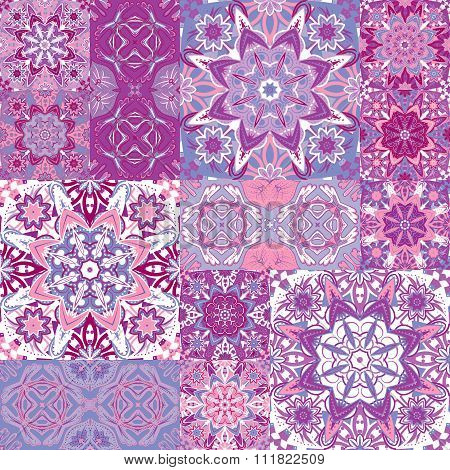 Set of seamless pattern. Seamless abstract pattern frame of trendy colored floral flower tiles. For