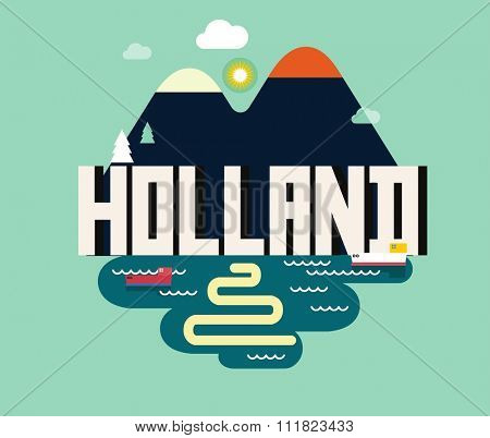 Holland in europe is a beautiful country to visit. vintage vector illustration.