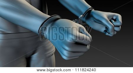 Man in Handcuffs with Close Up from Behind