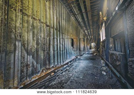 Old abandoned ruin factory damage building inside