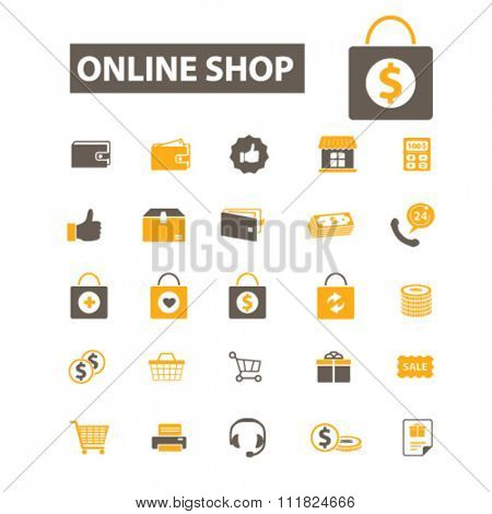 online shop, sales, shopping  icons, signs vector concept set for infographics, mobile, website, application