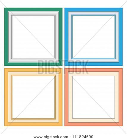 Four multicolored frameworks in pastel colors isolated on white