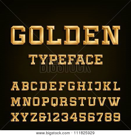 Golden Alphabet Vector Font.