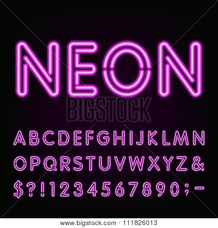 Purple Neon Light Alphabet Font.