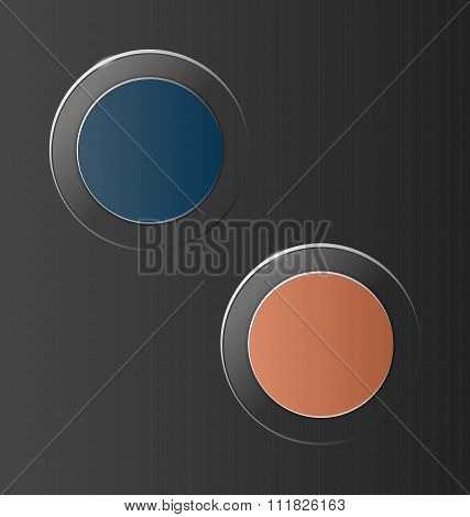 glassy circle icons on grey