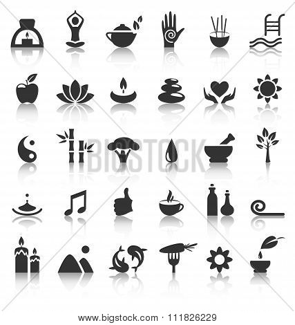Spa yoga zen flat icons with reflection on white