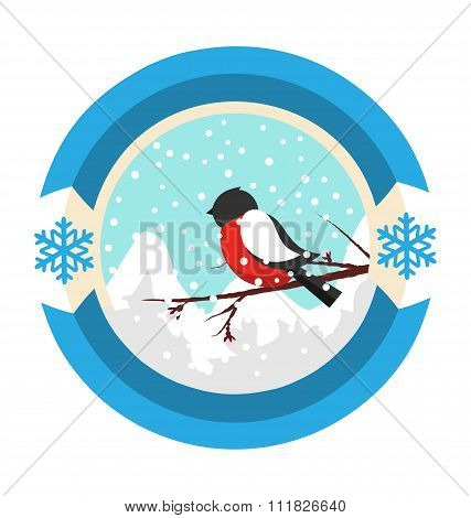 Christmas Winter and New Year Label Icon with Bullfinch and Moun