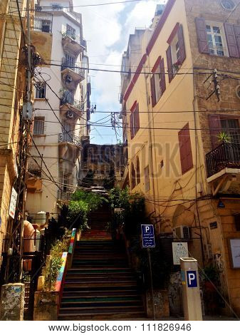 Street view of Beirut, Lebanon