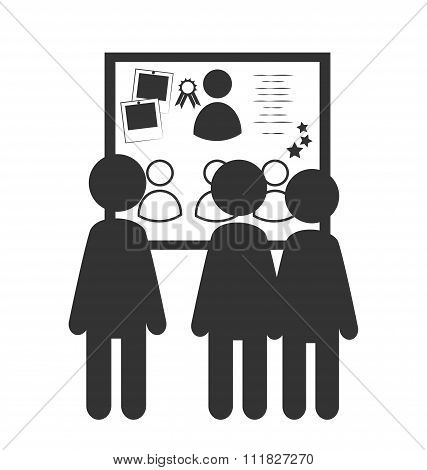 Flat office honor board icon isolated on white