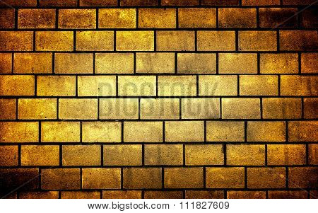 Texture Of Golden Decorative Tiles In Form Of Brick High Contrasted With Vignetting Effect