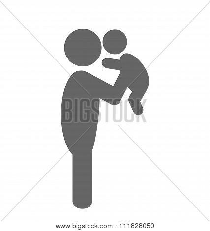 Father and baby pictogram flat icon isolated on white