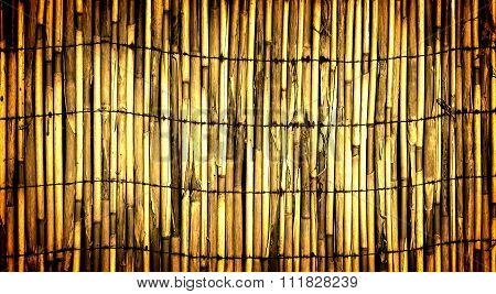 Texture Of Yellow Wall Of Bound Bamboo High Contrasted With Vignetting Effect