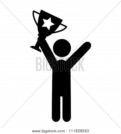 People Man with Winner Cup Flat Icons Pictogram Isolated on Whit