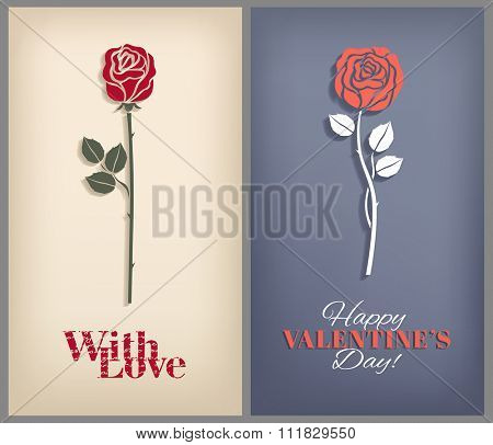 Romantic cards with roses. Vector set.