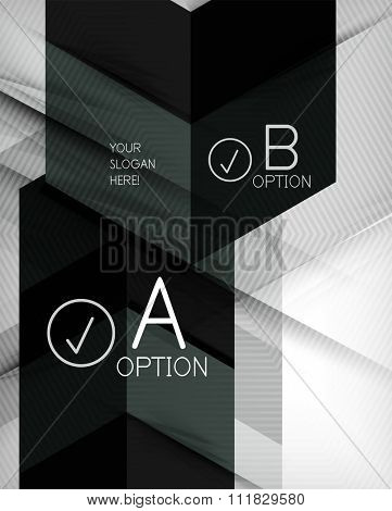 Color geometric shapes with option elements abstract background. Vector illustration