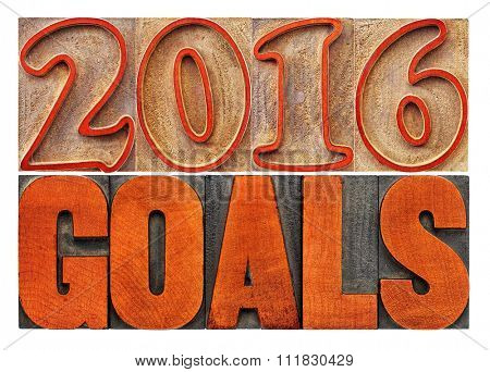 2016 goals banner - New Year resolution concept - isolated text in vintage letterpress wood type printing blocks stained by red ink