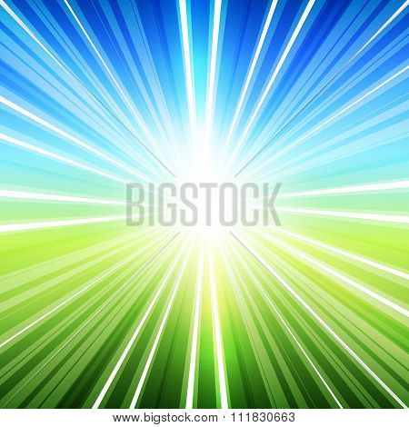 Summer Background Label Rays From The Center Of Blue Green