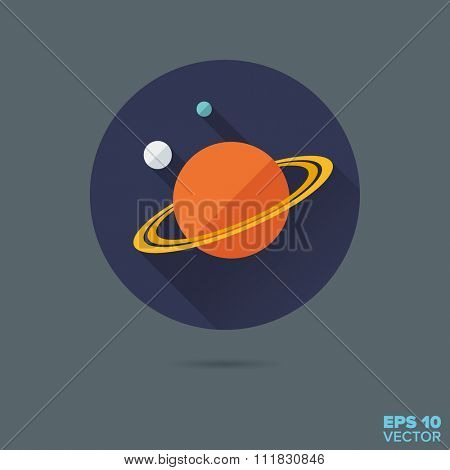 Saturn and moons flat design vector icon