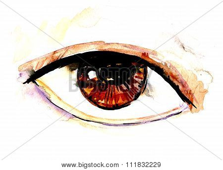 Watercolor Hazel Eye Illustration