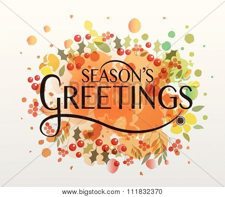 Hand Sketched Season's Greetings Watercolor Logotype, Badge And Icon Typography.