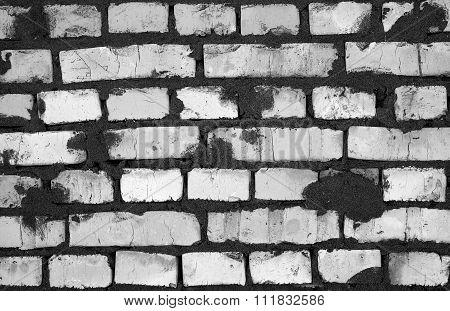 Fresh Clay Brickwork Detailed Texture Background Black And White