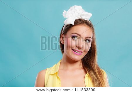 Pretty Pin Up Girl With Hairband Bow.
