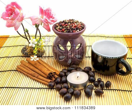 Tea Ceremony By Candlelight With Cinnamon, Roses, Cup, Pepper Mix Isolated On White