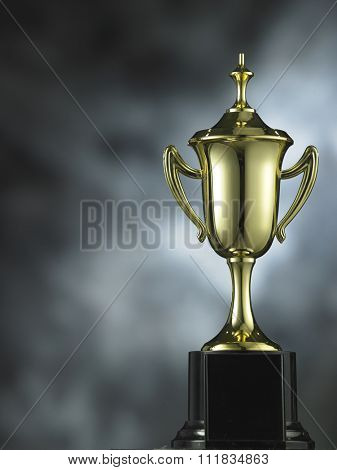 trophy on the white gray and lighting effect