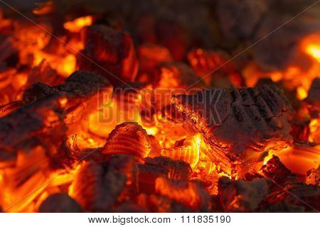 Very hot charcoal burning in the touristic campfire