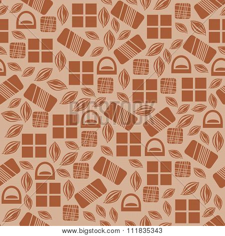 Seamless pattern with chocolate sweets isolated on white background